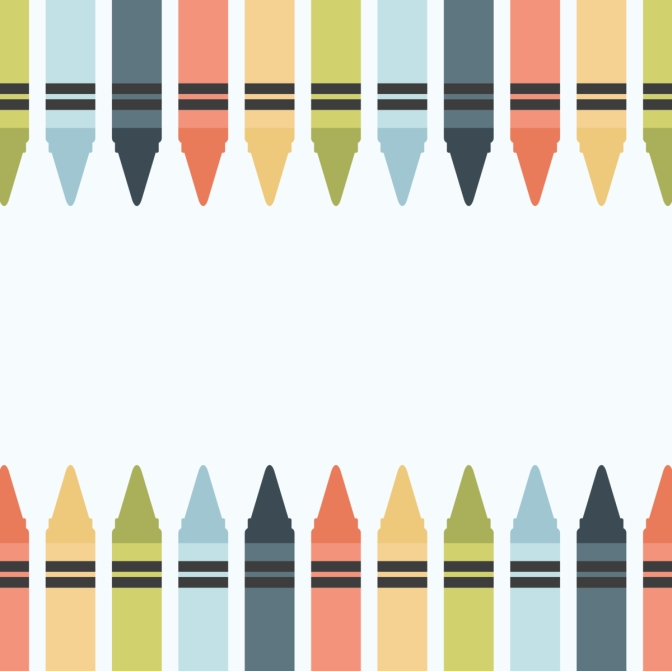 2 rows of crayons
