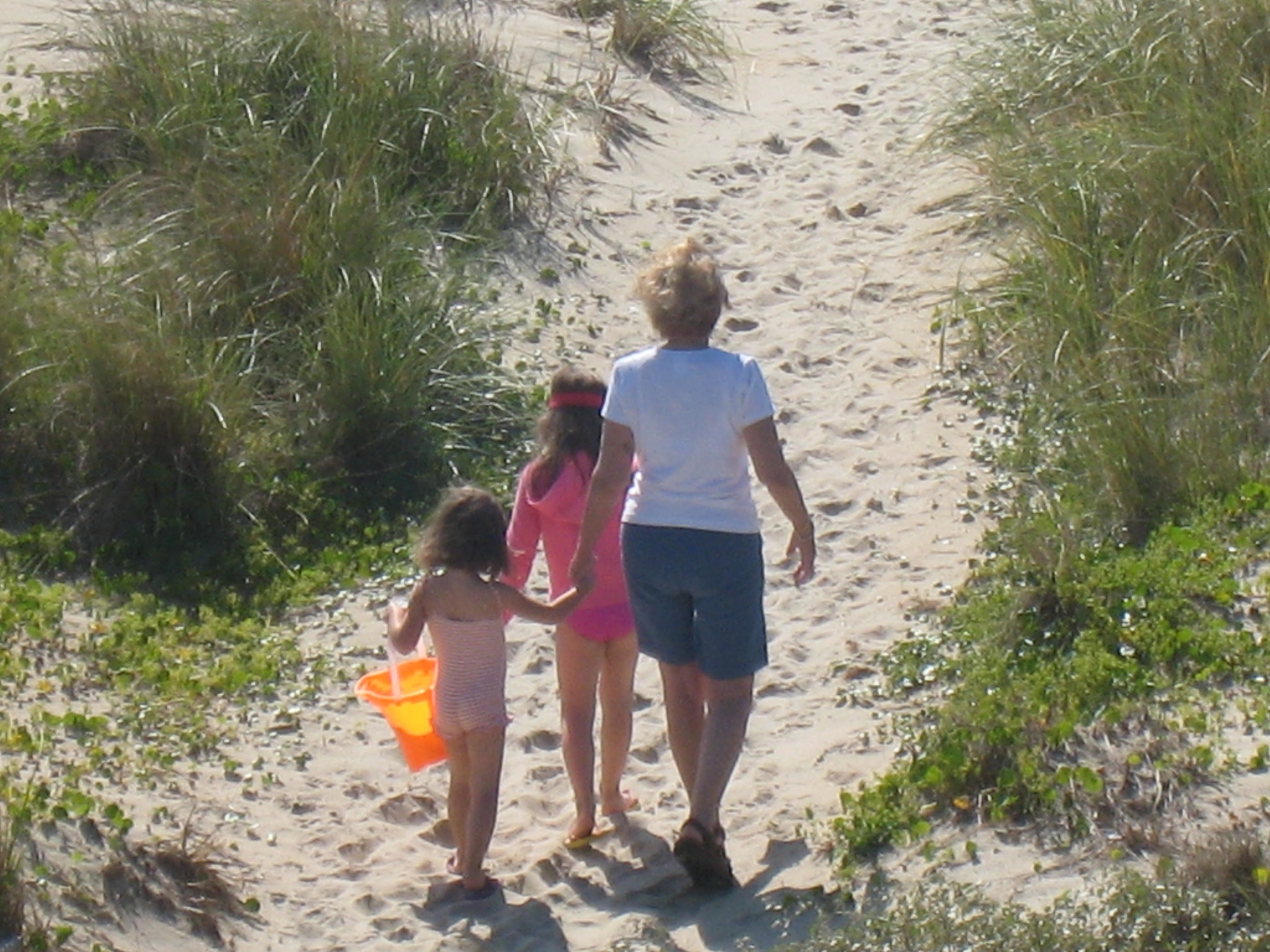 a woman walking with two girls on sand