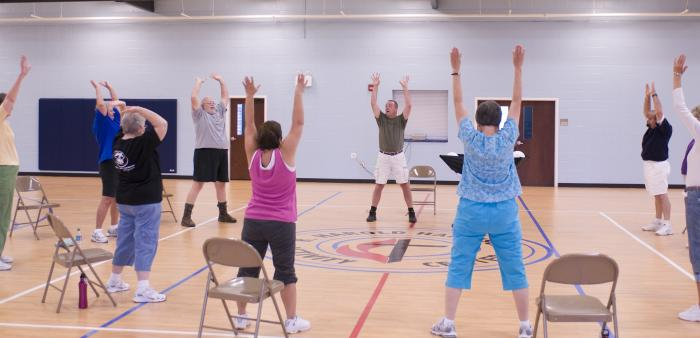 people in a gym exercising