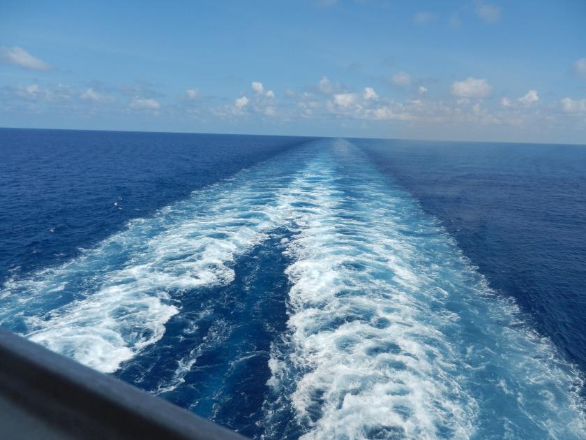 waves behind a ship