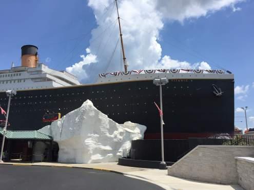 Titanic museum, replica of ship and iceberg