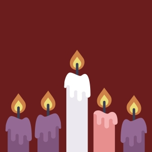 a sketch of 5 lit candles in a row