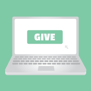 drawing of a laptop with GIVE on the screen