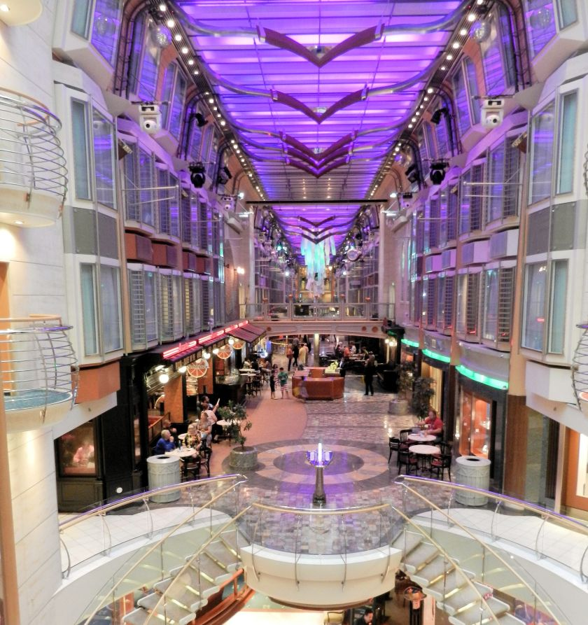 a promenade on a cruise ship
