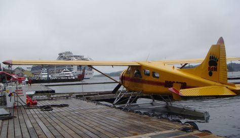 a seaplane with a cruise ship in the background