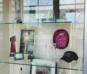 display cases with performance memorabilia