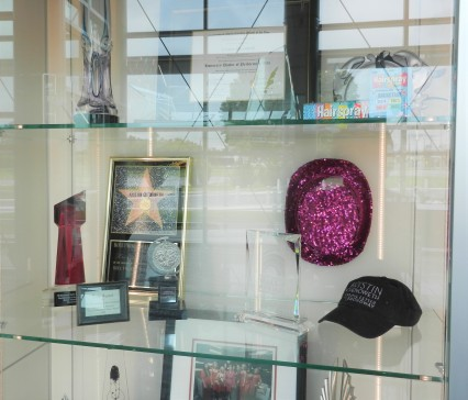 display cases with performance memorabilia