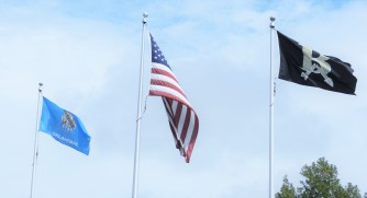 3 flags flying-Oklahoma , United States, Broken Arrow