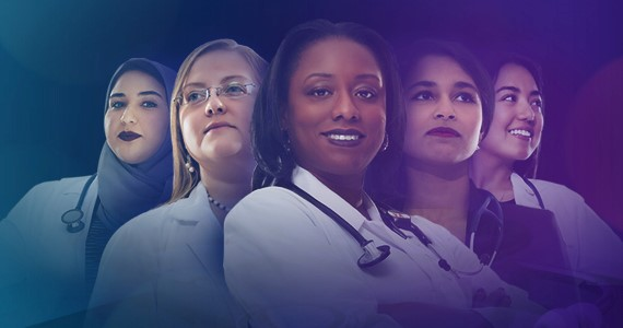 5 women physicians, multi-ethnic