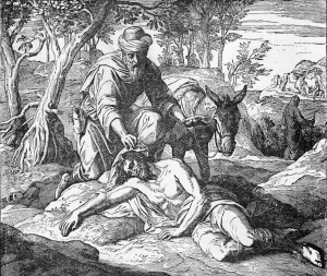 sketch of a man helping a wounded man lying on the ground-the good Samaritan
