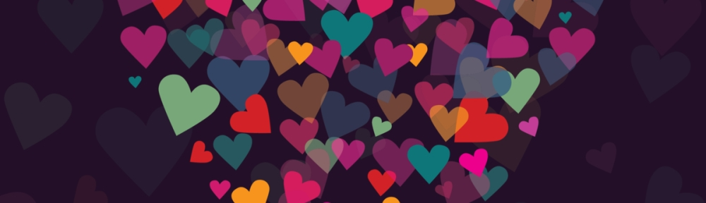 a heart-shaped cluster of colorful hearts