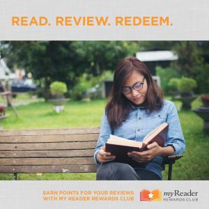 myReader Rewards club- photo of woman on a bench reading a book