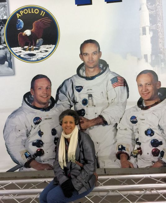 life size photo of the Apollo 11 crew-Armstrong, Collins, and Aldrin