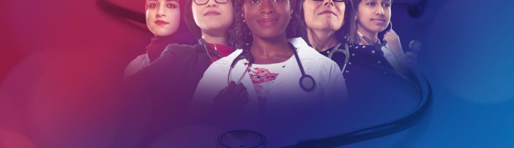 5 women physicians of varied ethnicity with stethoscopes around their necks