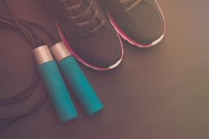 sports shoes, jump rope