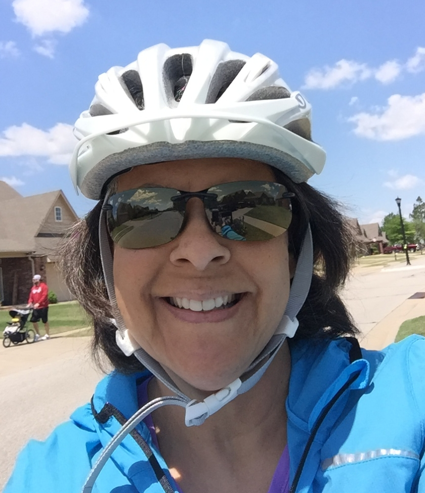 Dr Aletha in her bicycle helmet