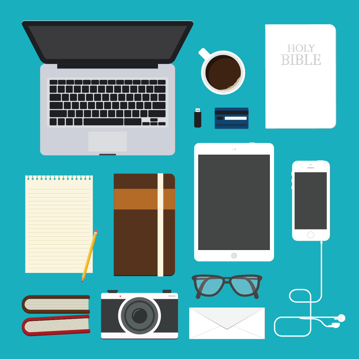 graphical depiction of electronic devices, paper, pencil, Bible, coffee mug
