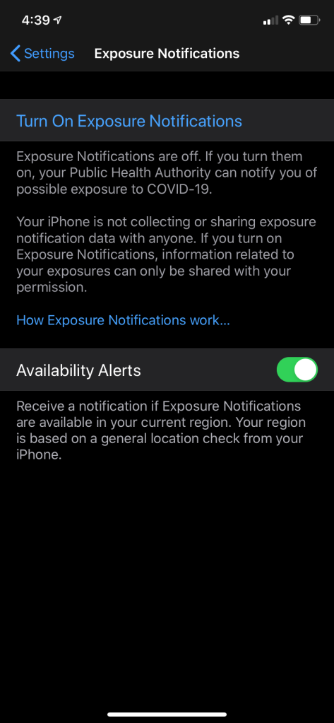 a phone screen shot about exposure notifications