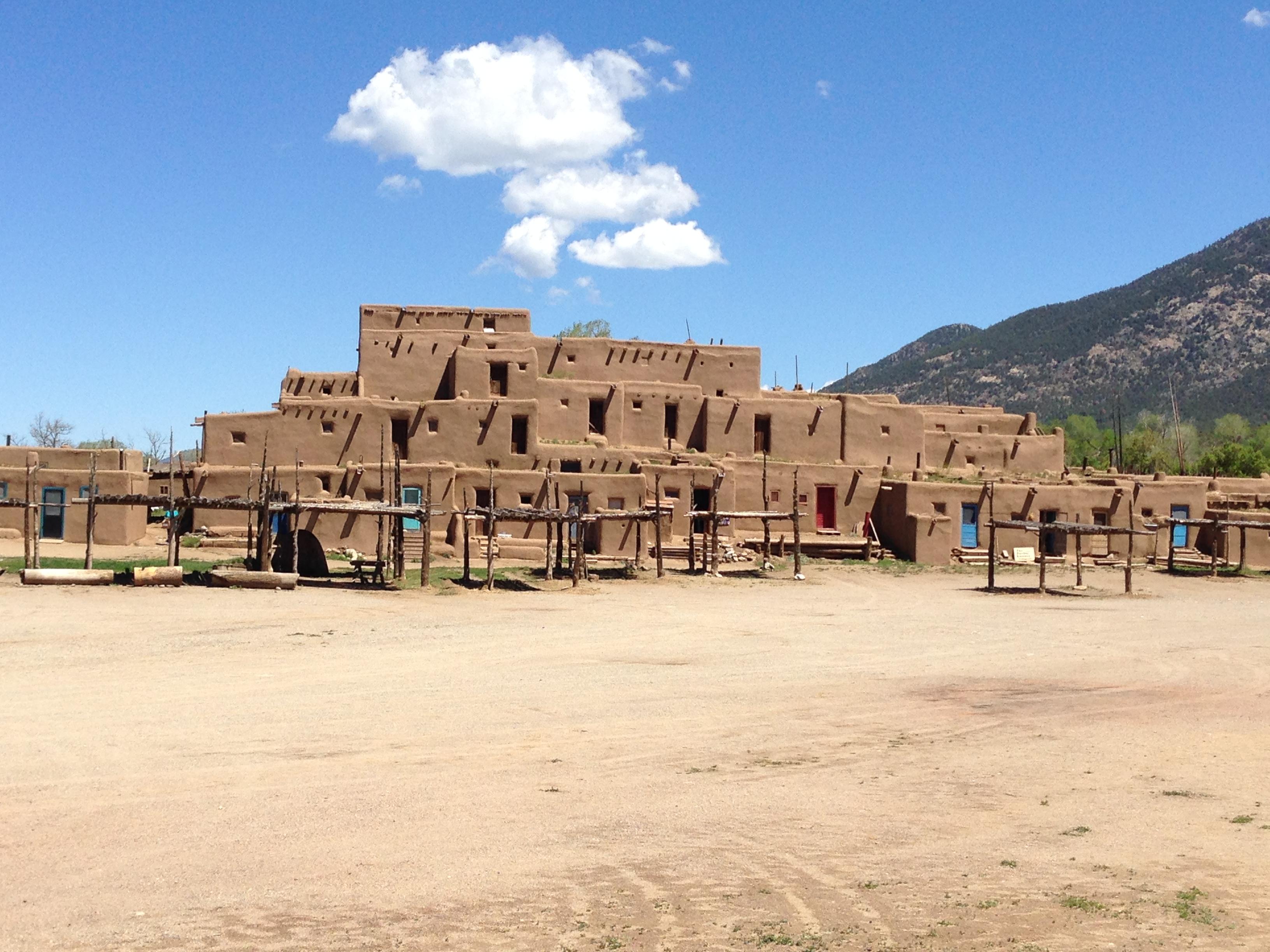 the Taos Pueblo village